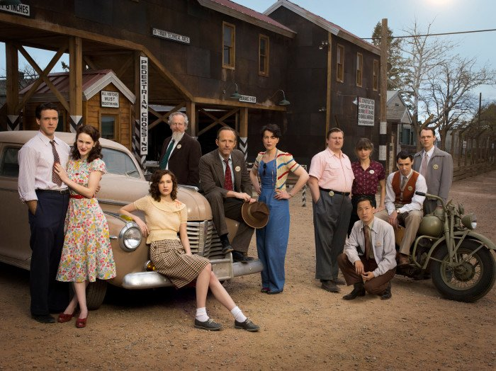 "(L-R): Ashley Zukerman as ""Charlie Isaacs,"" Rachel Brosnahan as ""Abby Isaacs,"" Alexia Fast as ""Callie Winter,"" Daniel Stern as ""Glen Babbit,"" John Benjamin Hickey as ""Frank Winter,"" Olivia Williams as ""Liza Winter,"" Michael Chernus as ""Louis 'Fritz' Fedowitz,"" Eddie Shin as ""Sid Liao,"" Katja Herbers as ""Helen Prins,"" Harry Lloyd as ""Paul Crosley"" and Christopher Denham as ""Jim Meeks"" in WGN America's ""Manhattan,"" premiering SUNDAY, July 27 (10 pm ET / 9 pm CT) Photo: Justin Stephens/WGN America (PRNewsFoto/WGN America)"